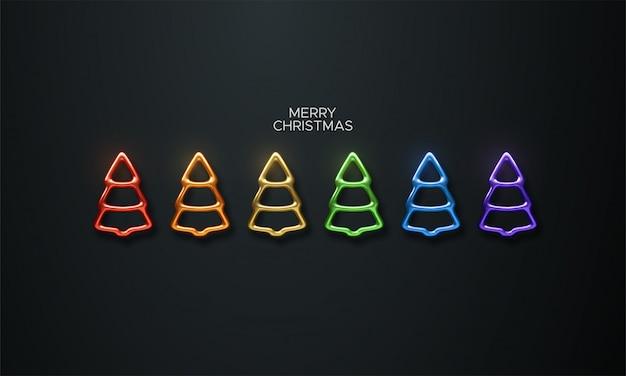 Abstract rainbow colors christmas tree set. vector festive illustration