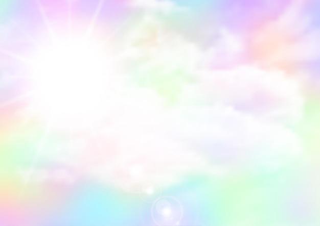 Abstract rainbow coloured sky with sunburst