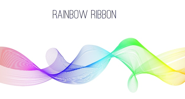 Abstract rainbow ribbon banner.
