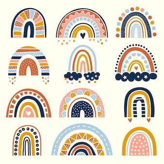 抽象的な虹。虹のベクトル描画セットの子供たちの形のためのスカンジナビアのグラフィック曲線の様式化された線の装飾。スカンジナビアの抽象的な虹のコレクションのイラストデザイン