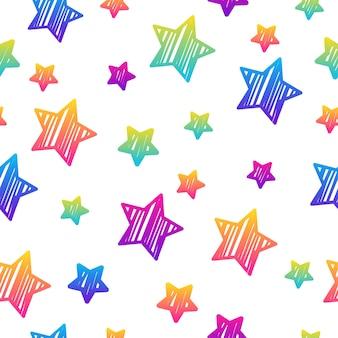 추상 무지개 원활한 패턴 배경입니다. 생일 카드, 파티 초대장, 벽지, 휴일 포장지, 직물, 가방 인쇄, 티셔츠, 워크샵 광고를 위한 현대적인 미래 삽화.