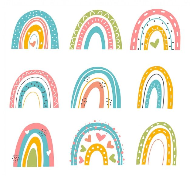 Abstract  rainbow set. hand drawn rainbows in minimalist scandinavian style. modern baby, kid illustrations. rainbow in different shapes. colorful contemporary art