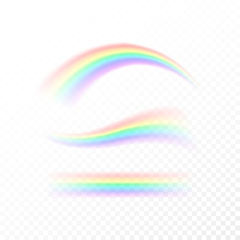 抽象的な虹はさまざまな形に設定します。分離した白い背景に分離された光、7色のスペクトル