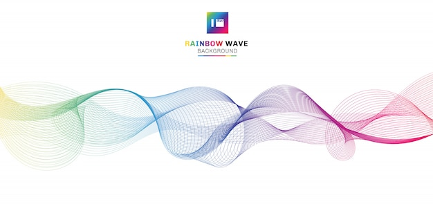 Abstract rainbow wave lines
