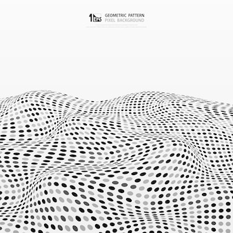 Abstract random gray and black dots stripe wave background.