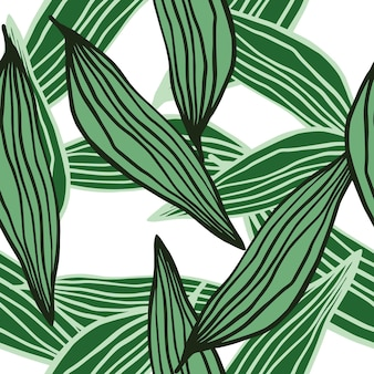 Abstract random organic line leaves pattern isolated on white background.