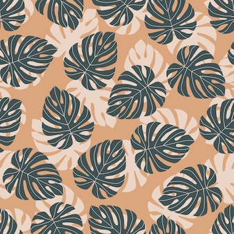 Abstract random seamless pattern with doodle navy blue monstera silhouettes. orange pastel background.