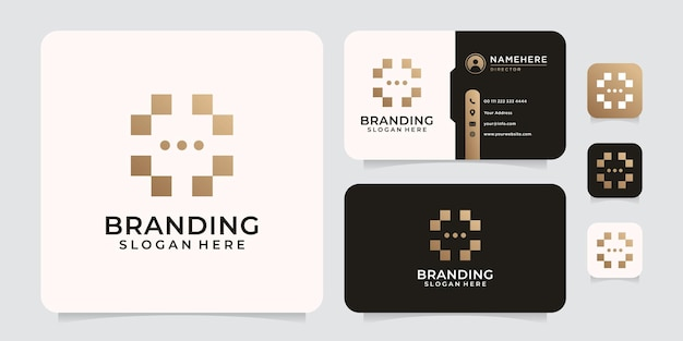 Abstract random technology logo design for brand and company