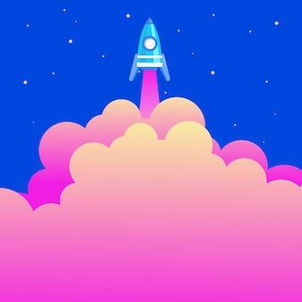 추상 도달 최상위 로켓 과학 프레젠테이션 디자인 다채로운 우주 여행 개념