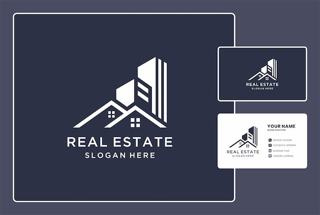 Abstract real estate logo and business card design.