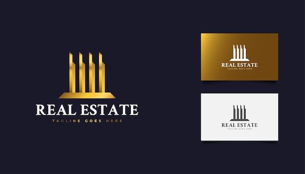 ゴールドグラデーションの抽象的な不動産ロゴデザイン。建設、建築、建物、または家のロゴ