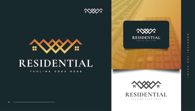 Абстрактный дизайн логотипа недвижимости с концепцией буквица w