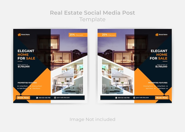 Шаблон сообщения в социальных сетях и веб-баннер abstract real estate