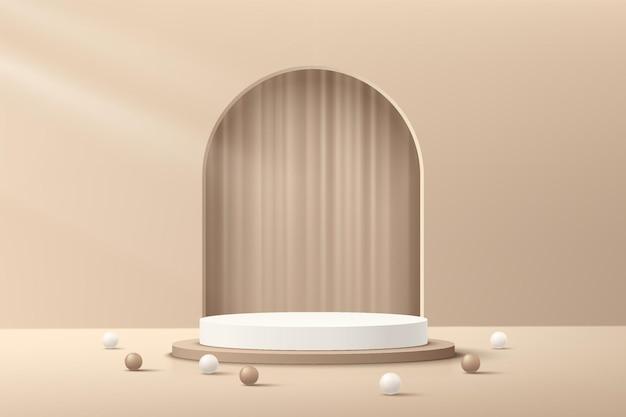Абстрактный реалистичный трехмерный бежевый цилиндрический пьедестал-подиум с арочным окном и роскошной занавеской внутри