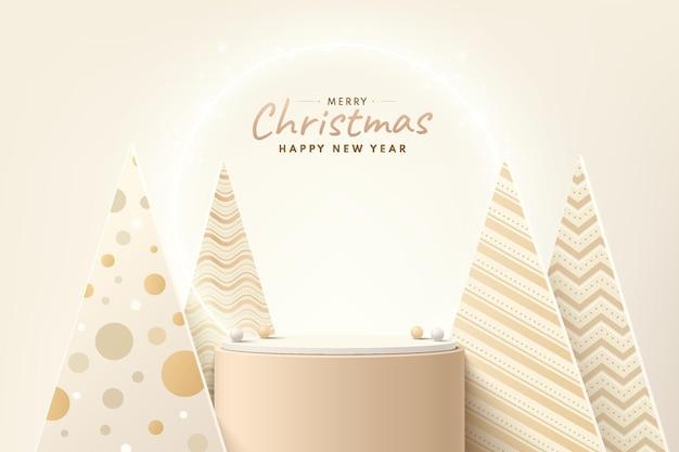 Абстрактный реалистичный 3d коричневый и золотой цилиндрический пьедестал подиум с роскошной рождественской елкой и мячом