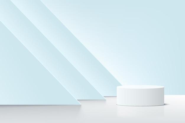 Абстрактный реалистичный 3d бело-синий цилиндрический пьедестал-подиум со светящимся фоном из слоев треугольника