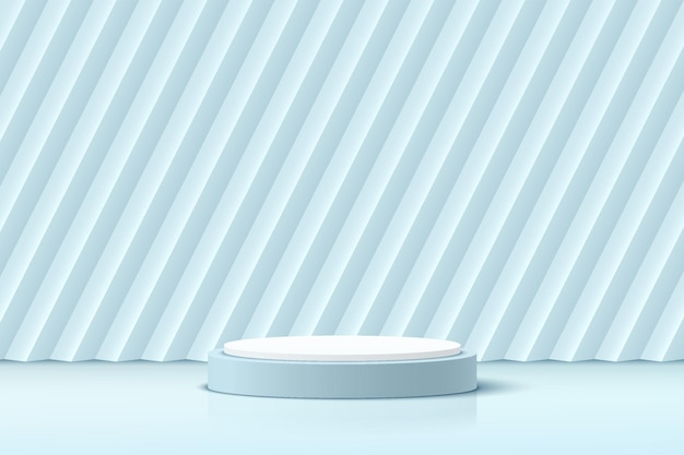 Abstract realistic 3d white and blue cylinder pedestal podium with oblique rectangle background