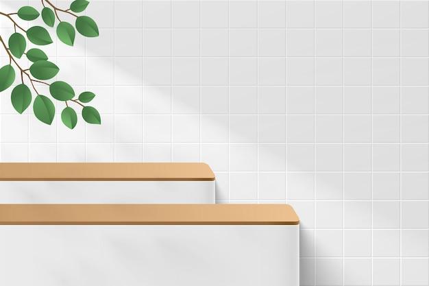 추상적인 사실적인 3d 흰색 실린더 받침대 또는 녹색 잎과 창 그림자가 있는 스탠드 연단