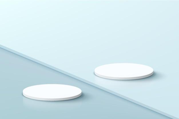 추상적인 사실적인 3d 흰색 실린더 페데스탈 연단은 계단 바닥 파스텔 블루 최소 장면에 설정되어 있습니다.