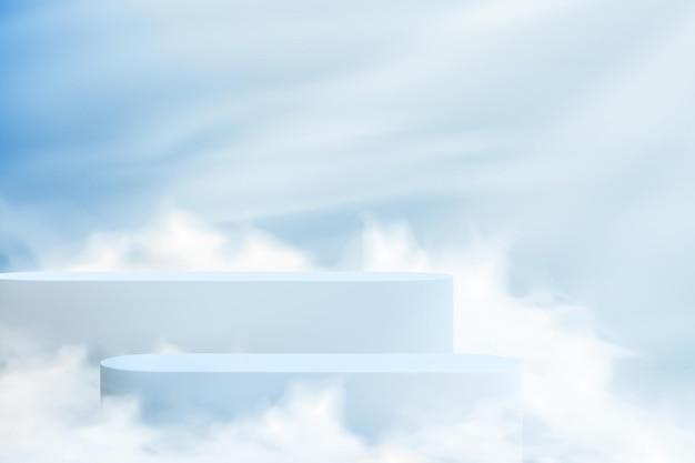 雲の空の背景に台座と抽象的な現実的な背景。パステルカラーで製品を紹介する空の表彰台のセット。