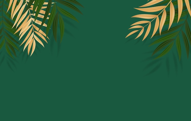 Abstract realistic green and golden palm leaf tropical illustration