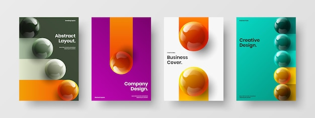 Abstract realistic spheres company brochure concept collection