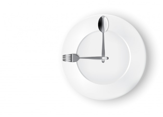 Abstract realistic time to eat with clock, white plate or dish