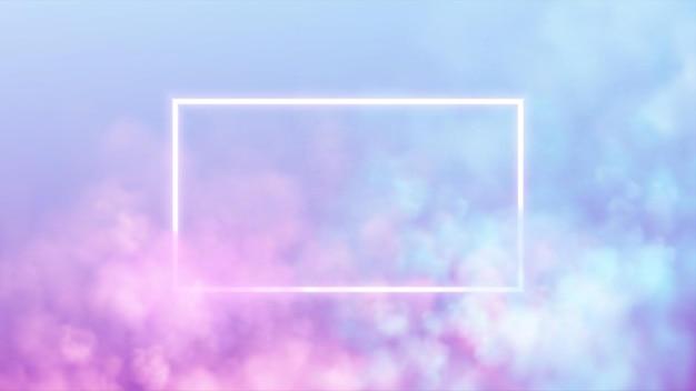분홍색과 파란색 연기 배경에 추상 사각형 네온 프레임