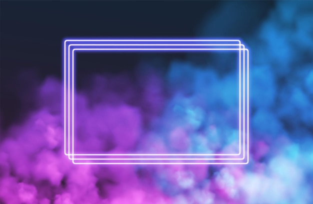 Abstract rectangle neon frame on pink smoke background