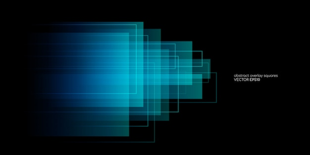 Abstract rectangle shapes transparent overlay in blue and green colors on black background.