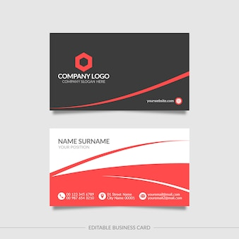 Абстрактный красный и черный шаблон визитной карточки