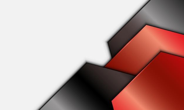 白い背景の上の抽象的な赤と黒の金属金属の幾何学的な重なり層