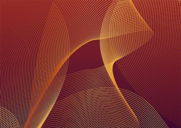抽象的な赤と金の線の背景