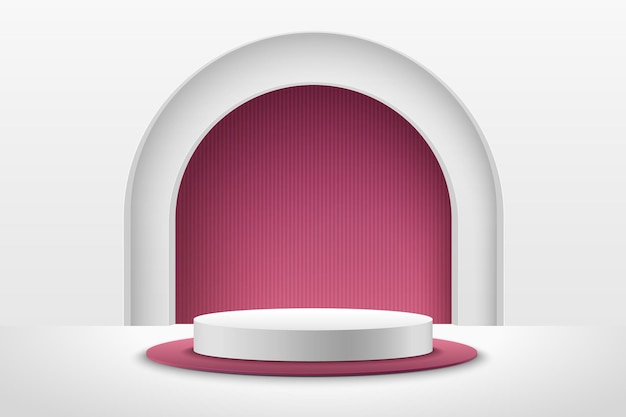 제품에 대 한 추상 빨간색과 흰색 라운드 디스플레이. 럭셔리 3d 렌더링 기하학적 모양입니다.