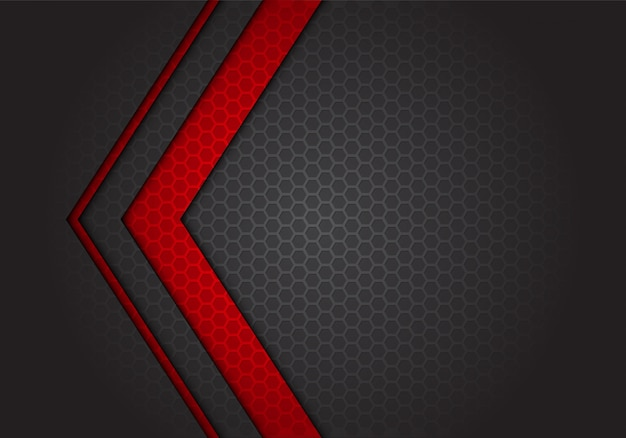 Abstract red arrow direction on dark grey hexagon mesh background.