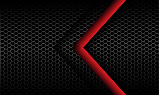 Abstract red arrow direction on dark grey metallic hexagon mesh pattern design modern futuristic background