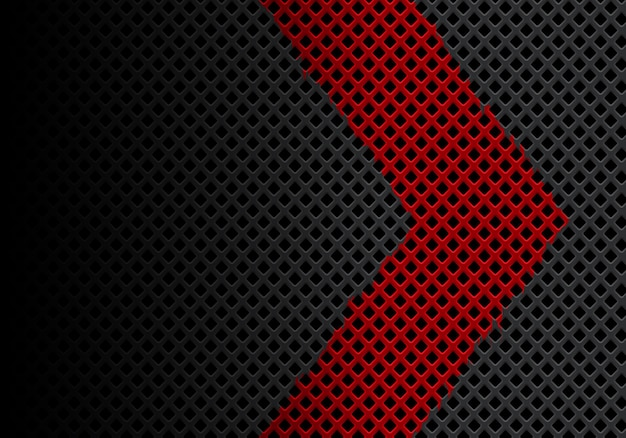 Abstract red arrow direction on gray diamond mesh background