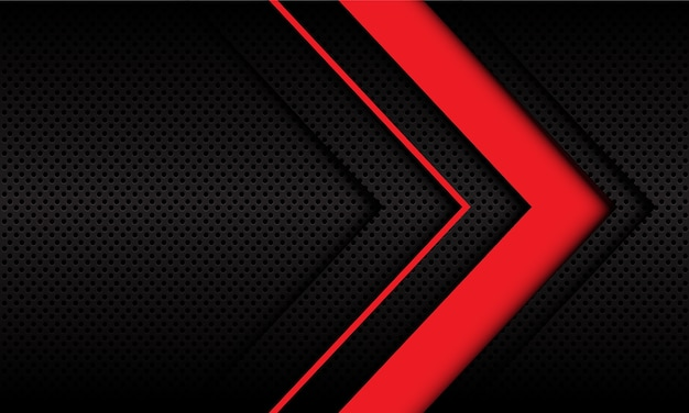 ダークメタリックサークルメッシュデザインのモダンで未来的な抽象的な赤い矢印の方向。