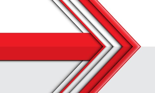 白いデザインのモダンで未来的な背景に抽象的な赤い矢印の方向
