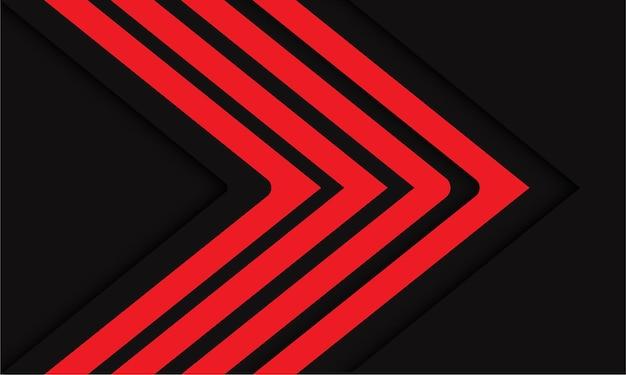 濃い灰色の現代の未来的な背景に抽象的な赤い矢印線の方向