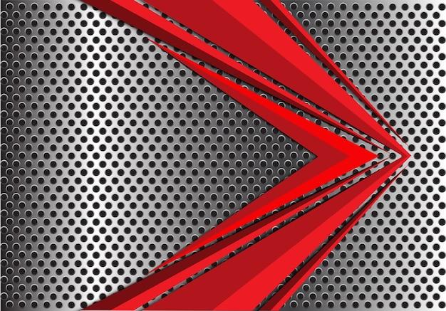 Abstract red arrow on metal circle mesh.