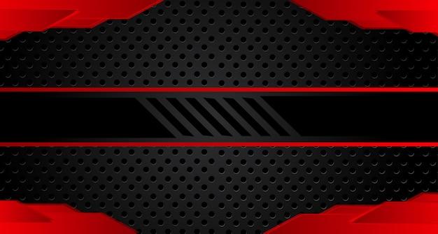 濃い灰色の丸メッシュデザインの抽象的な赤い矢印