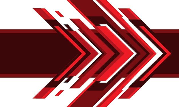 흰색 디자인 현대 미래 배경 벡터 일러스트 레이 션에 추상 빨간색 화살표 기술.