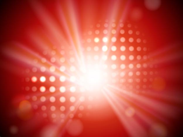 抽象的な背景が赤、スポットライト、ハーフトーンの要素を持つステージライト