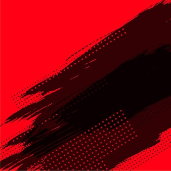 Abstract red background with black grunge and halftone