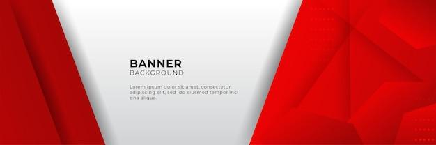 3dオーバーラップレイヤーと幾何学的形状と抽象的な赤いバナーの背景