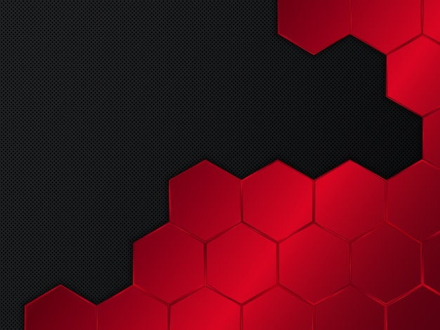 Abstract red and black background with hexagons.  illustration