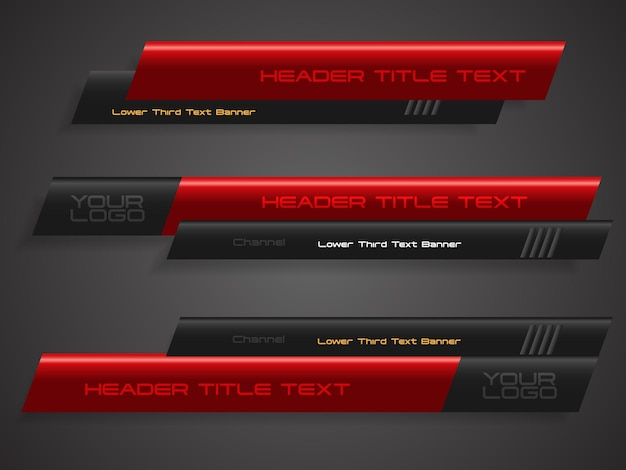 Abstract red black  broadcast news lower thirds template vector illustration for media video