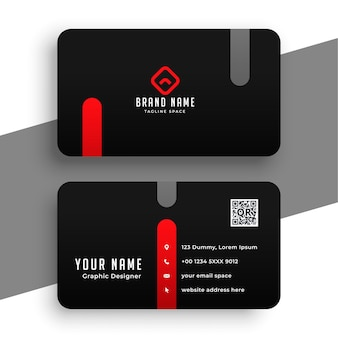 Abstract red and black business card minimal template