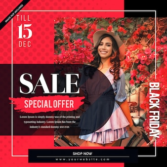 Abstract red black friday banner template